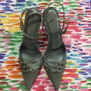 Satin Heels with Rhinestone Buckles Detail